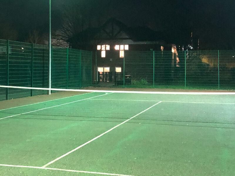 Floodlit tennis court