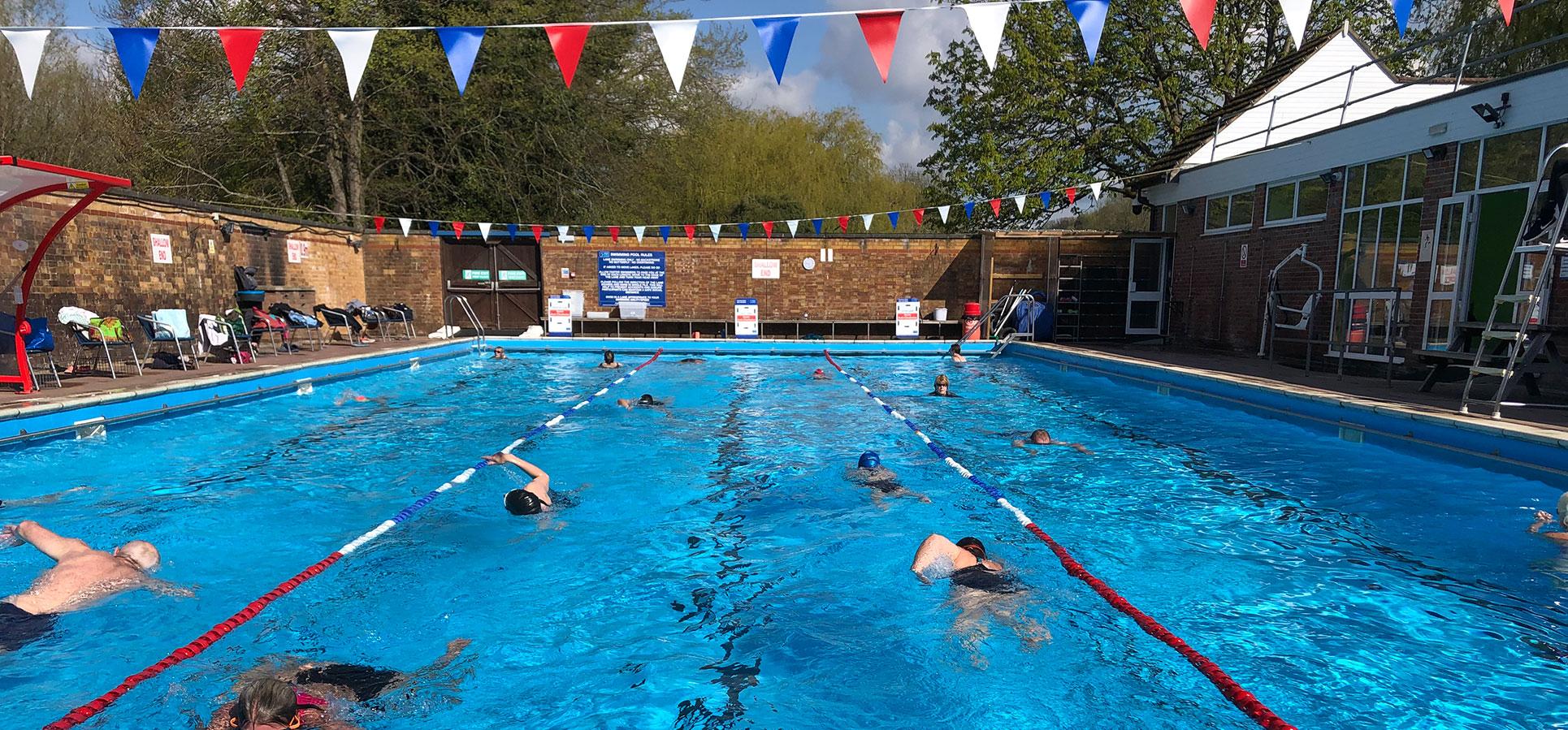 Chesham lido with three lanes for swimming